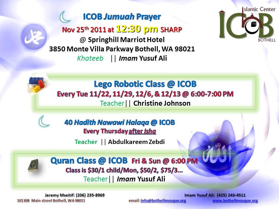 Jumuah Prayer & Activities 12/2 – Islamic Center of Bothell