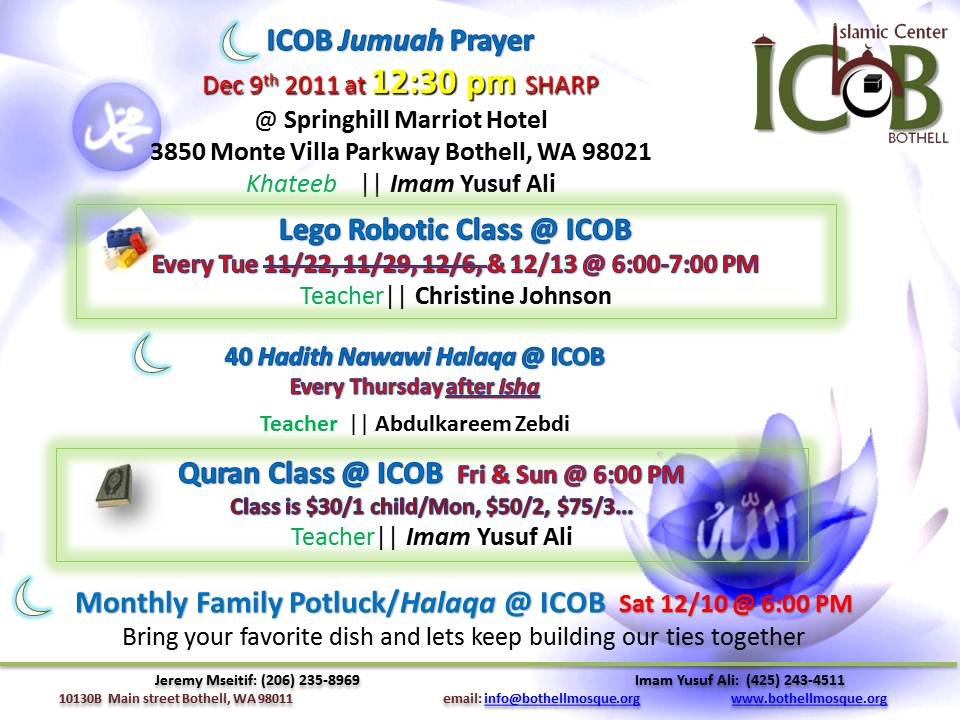 Jumuah Prayer & Activities 12/9 – Islamic Center of Bothell